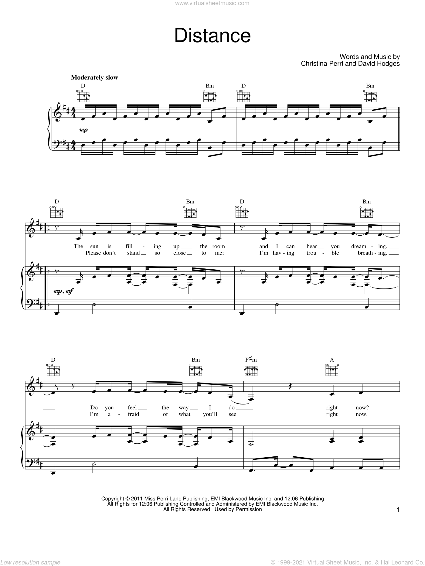 Distance sheet music for voice, piano or guitar by David Hodges and Christina Perri. Score Image Preview.