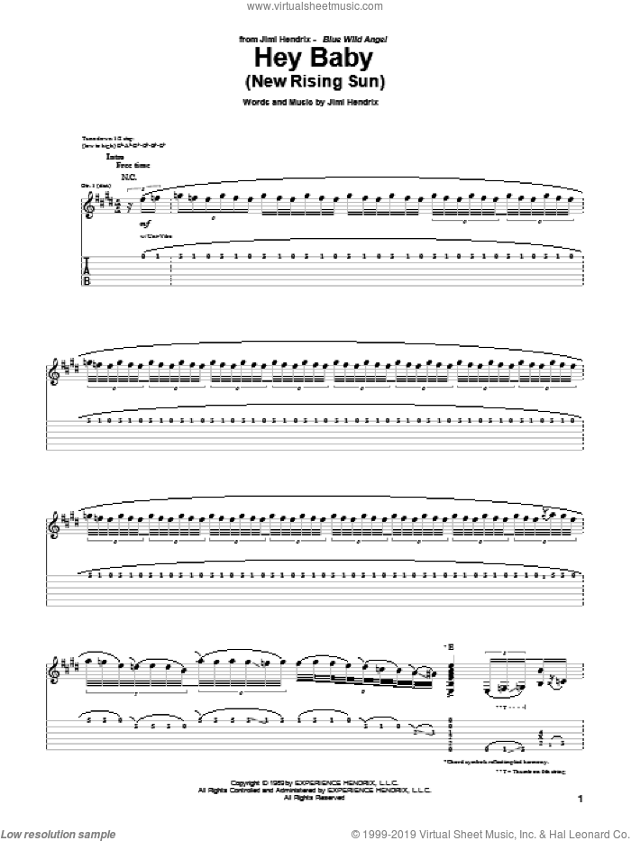 Hey Baby (New Rising Sun) sheet music for guitar (tablature) by Jimi Hendrix, intermediate. Score Image Preview.