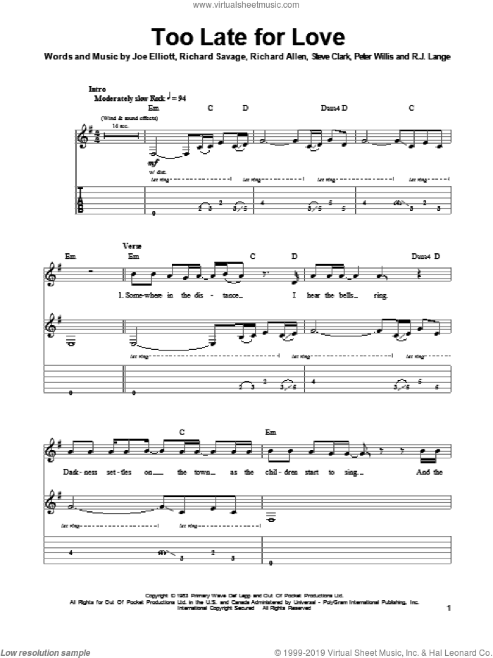 Too Late For Love sheet music for guitar (tablature, play-along) by Steve Clark, Def Leppard, Joe Elliott and Robert John Lange. Score Image Preview.