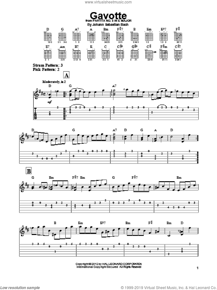 Gavotte sheet music for guitar solo (easy tablature) by Johann Sebastian Bach. Score Image Preview.