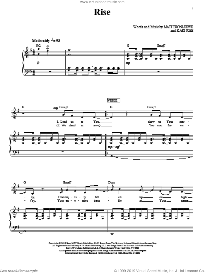 Rise sheet music for voice, piano or guitar by Kari Jobe. Score Image Preview.