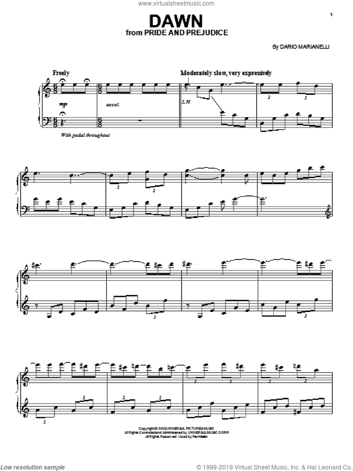 Dawn sheet music for voice, piano or guitar by Dario Marianelli, wedding score, intermediate skill level