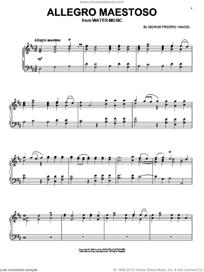 Allegro Maestoso sheet music for voice, piano or guitar by George Frideric Handel, classical wedding score, intermediate skill level