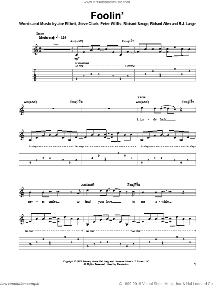 Foolin' sheet music for guitar (tablature, play-along) by Def Leppard and Robert John Lange. Score Image Preview.