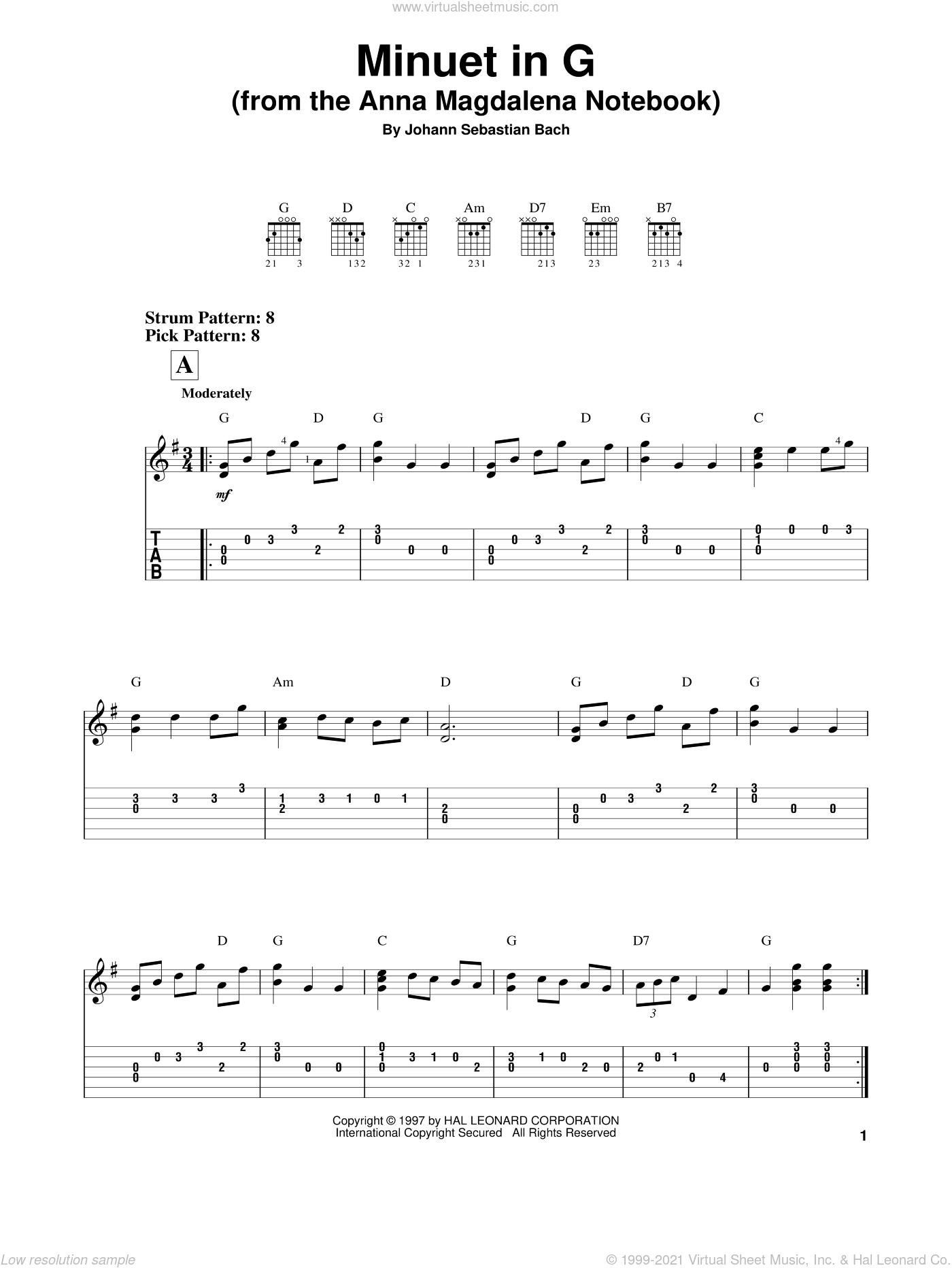 Minuet In G sheet music for guitar solo (easy tablature) by Johann Sebastian Bach, classical wedding score, easy guitar (easy tablature)