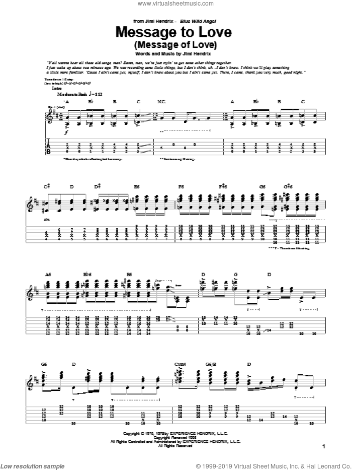 Message To Love (Message Of Love) sheet music for guitar (tablature) by Jimi Hendrix. Score Image Preview.