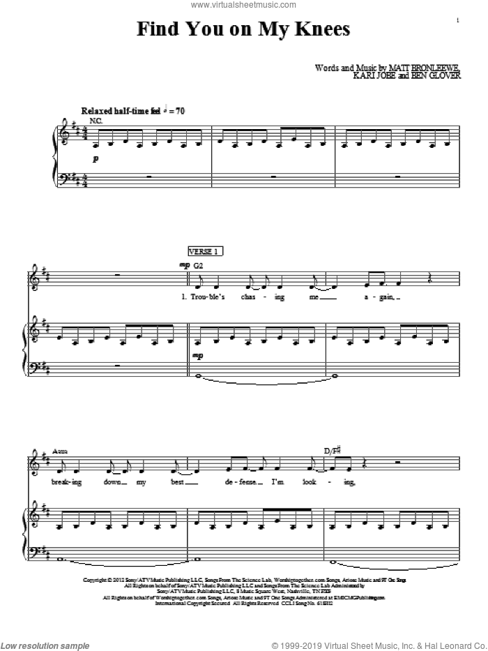Find You On My Knees sheet music for voice, piano or guitar by Matt Bronleewe, Ben Glover and Kari Jobe. Score Image Preview.