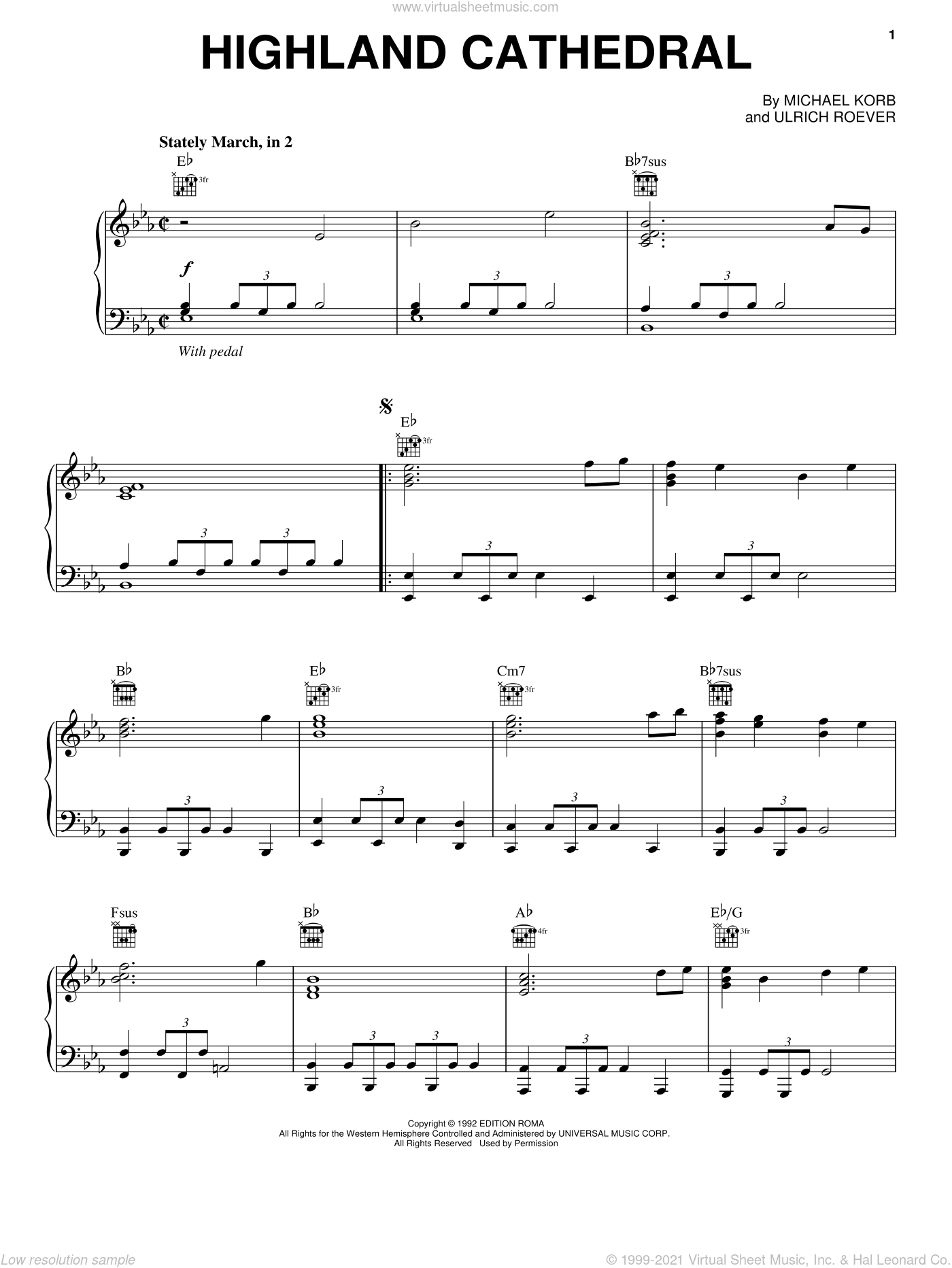 Highland Cathedral, (intermediate) sheet music for piano solo by Michael Korb and Ulrich Roever, wedding score, intermediate skill level