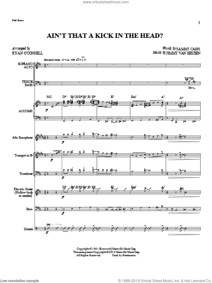 Ain't That A Kick In The Head? (complete set of parts) sheet music for orchestra/band by Sammy Cahn, Jimmy Van Heusen and Dean Martin, intermediate skill level