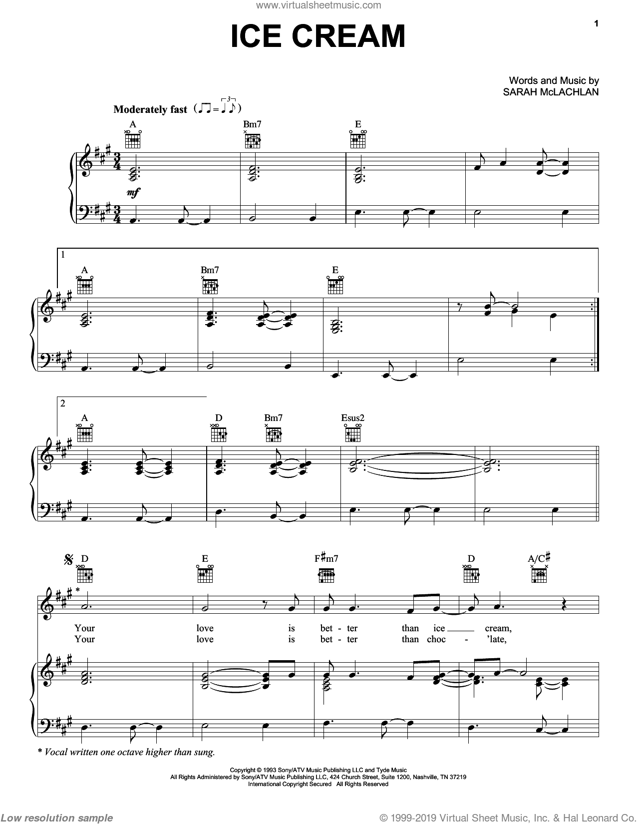 Ice Cream sheet music for voice, piano or guitar by Sarah McLachlan. Score Image Preview.