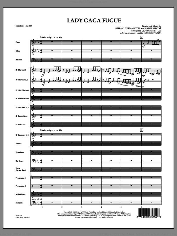 Lady Gaga Fugue (COMPLETE) sheet music for concert band by Lady Gaga, Giovanni Dettori, Johnnie Vinson and Nadir Khayat, intermediate skill level