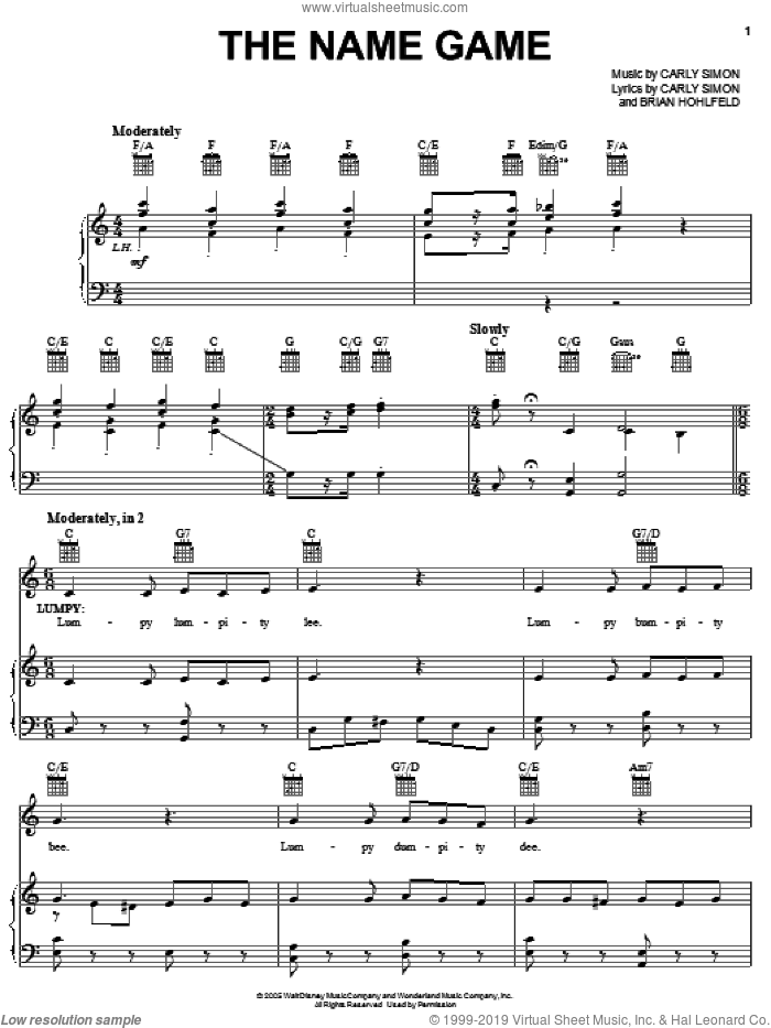 The Name Game sheet music for voice, piano or guitar by Carly Simon. Score Image Preview.