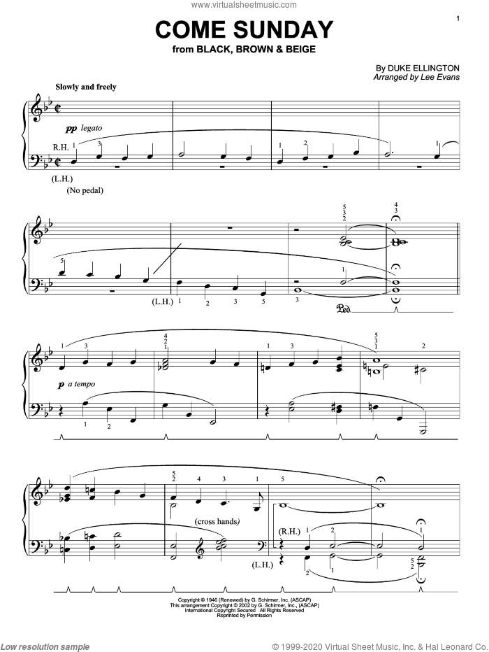 Come Sunday sheet music for piano solo by Duke Ellington. Score Image Preview.