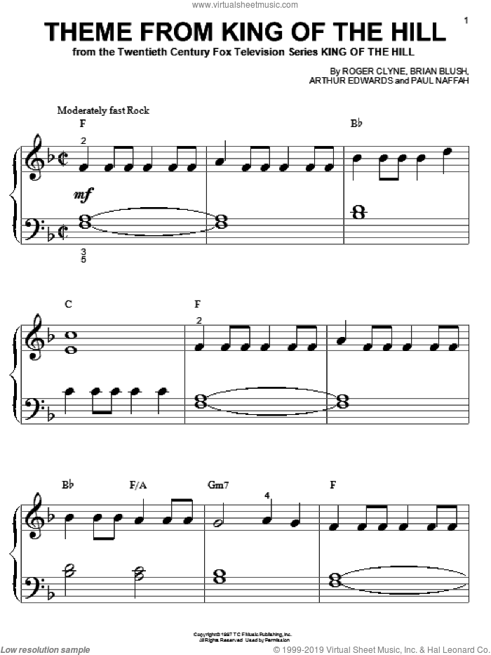 Theme From King Of The Hill sheet music for piano solo (big note book) by Paul Naffah and Roger Clyne. Score Image Preview.