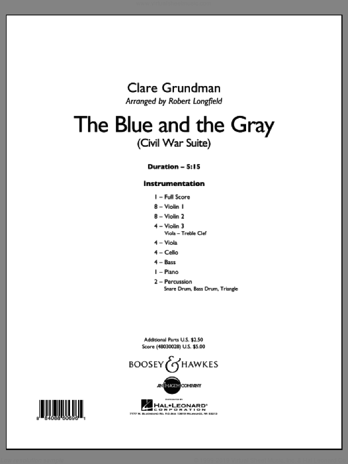 The Blue And The Gray sheet music for orchestra (full score) by Robert Longfield