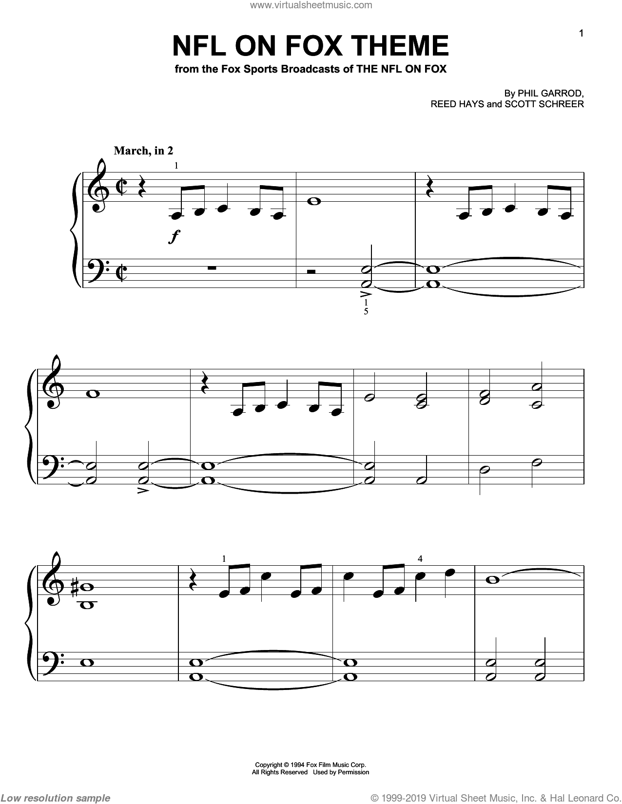 NFL On Fox Theme sheet music for piano solo (big note book) by Phil Garrod and Reed Hays. Score Image Preview.