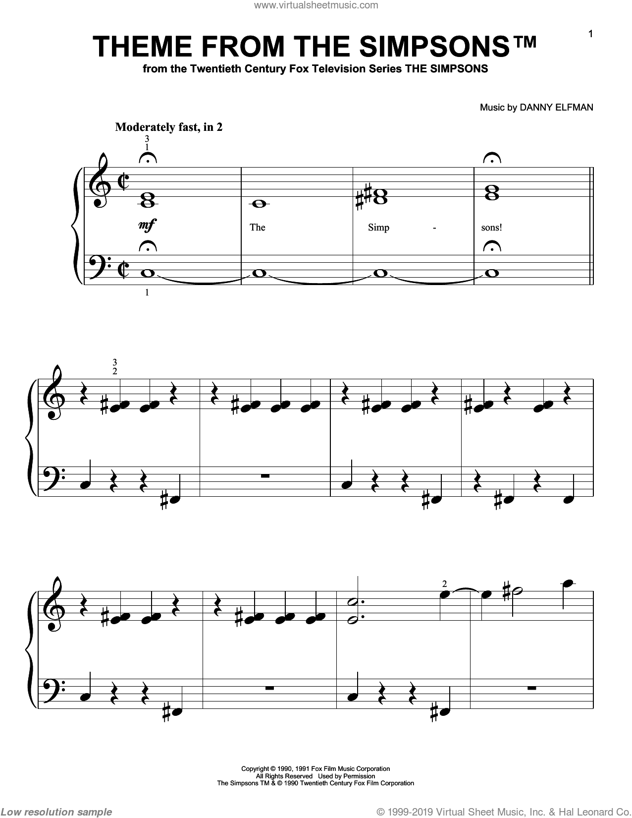 Theme From The Simpsons sheet music for piano solo (big note book) by Danny Elfman and The Simpsons, easy piano (big note book)