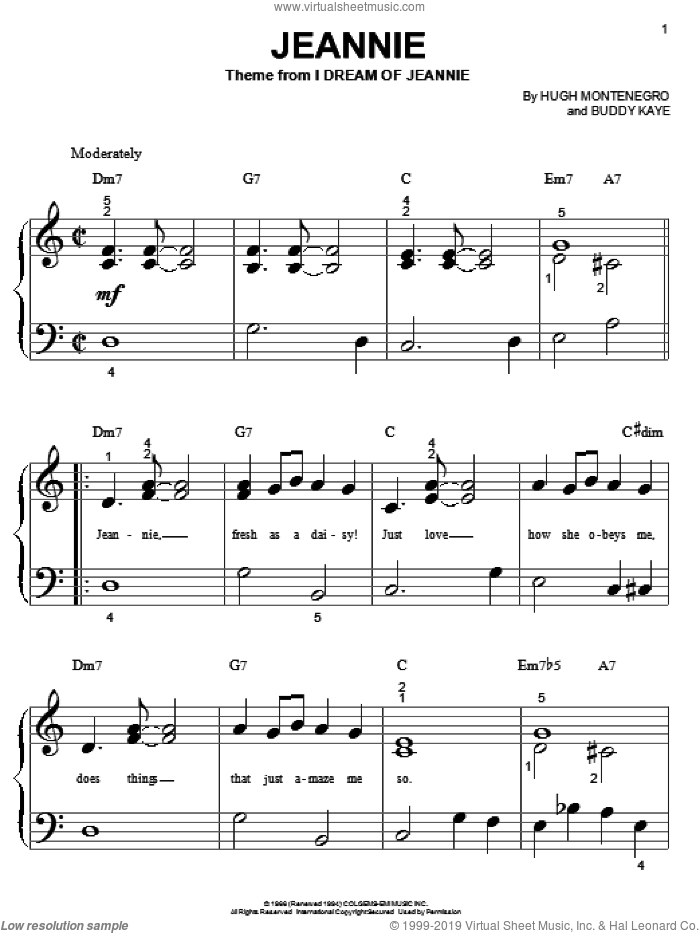Jeannie sheet music for piano solo (big note book) by Buddy Kaye. Score Image Preview.