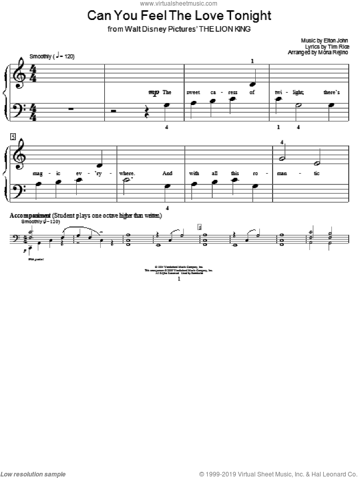 Can You Feel The Love Tonight (from The Lion King) sheet music for piano solo (elementary) by Elton John, Miscellaneous, The Lion King and Tim Rice, beginner piano (elementary)