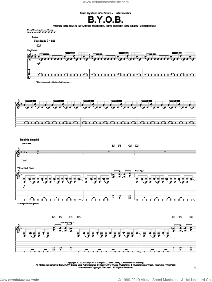 B.Y.O.B. sheet music for guitar (tablature) by System Of A Down. Score Image Preview.