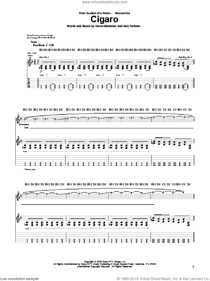 Cigaro sheet music for guitar (tablature) by System Of A Down. Score Image Preview.