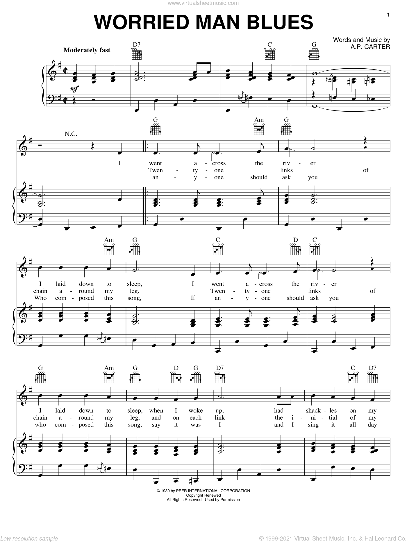 Worried Man Blues sheet music for voice, piano or guitar by The Carter Family, A.P. Carter, Maybelle Carter and Sara Carter, intermediate skill level
