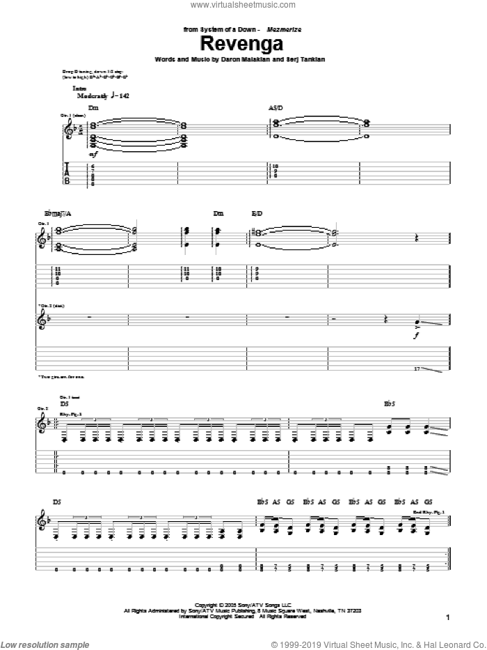 Revenga sheet music for guitar (tablature) by Serj Tankian and System Of A Down. Score Image Preview.