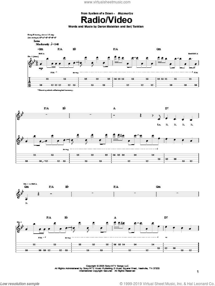Radio/Video sheet music for guitar (tablature) by Serj Tankian and System Of A Down. Score Image Preview.