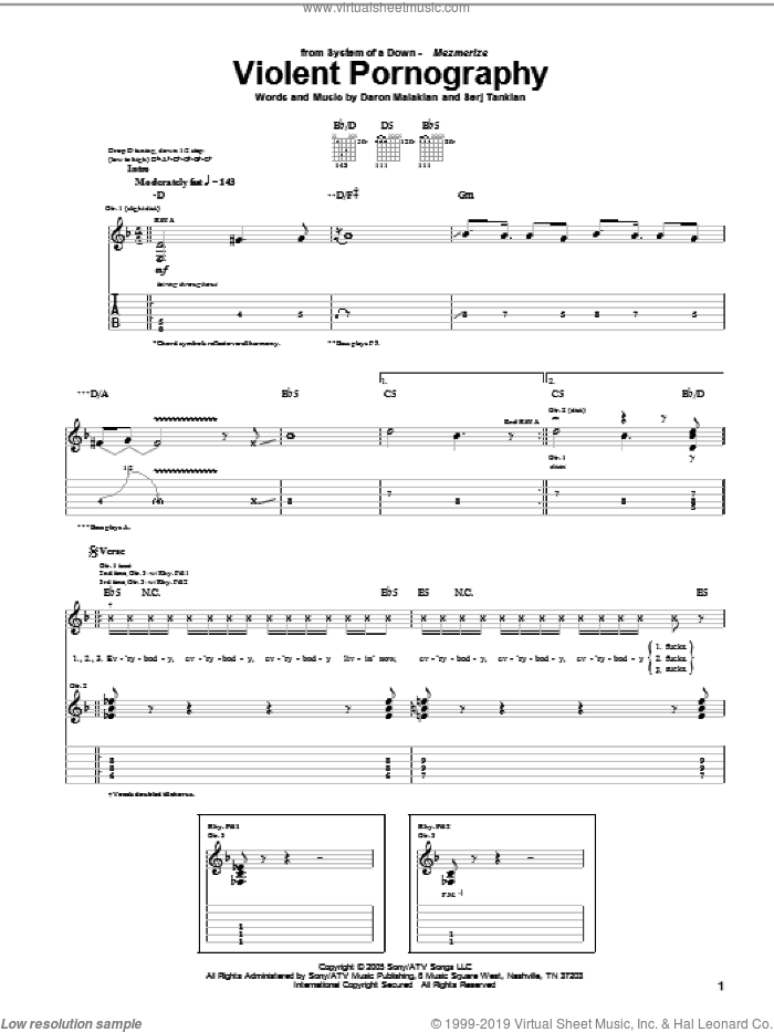 Violent Pornography sheet music for guitar (tablature) by Serj Tankian