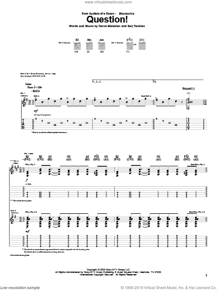 Question! sheet music for guitar (tablature) by System Of A Down. Score Image Preview.