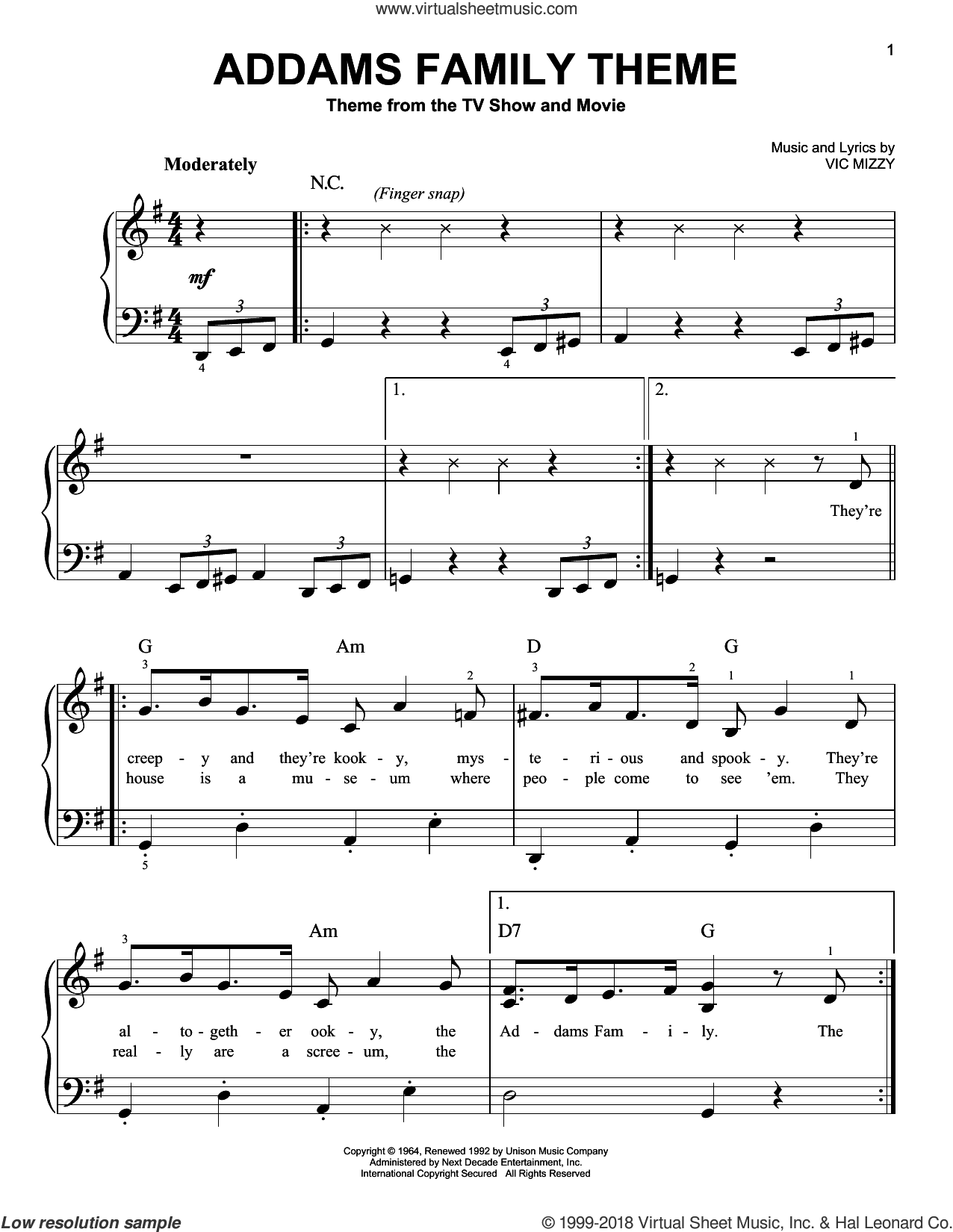 Mizzy The Addams Family Theme Beginner Sheet Music For Piano Solo