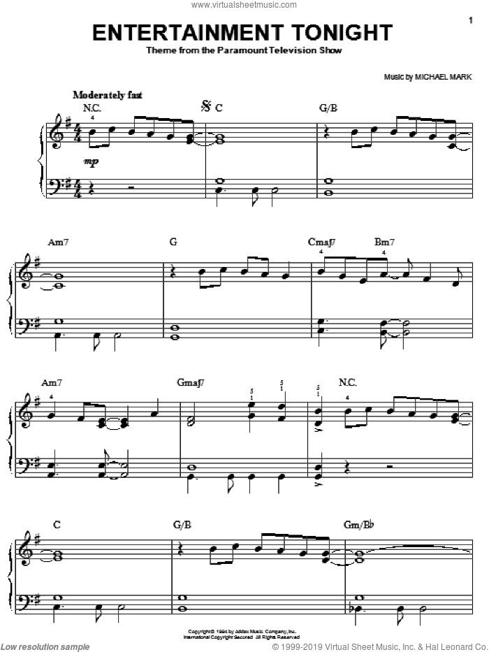 Entertainment Tonight sheet music for piano solo by Michael Mark, easy piano. Score Image Preview.
