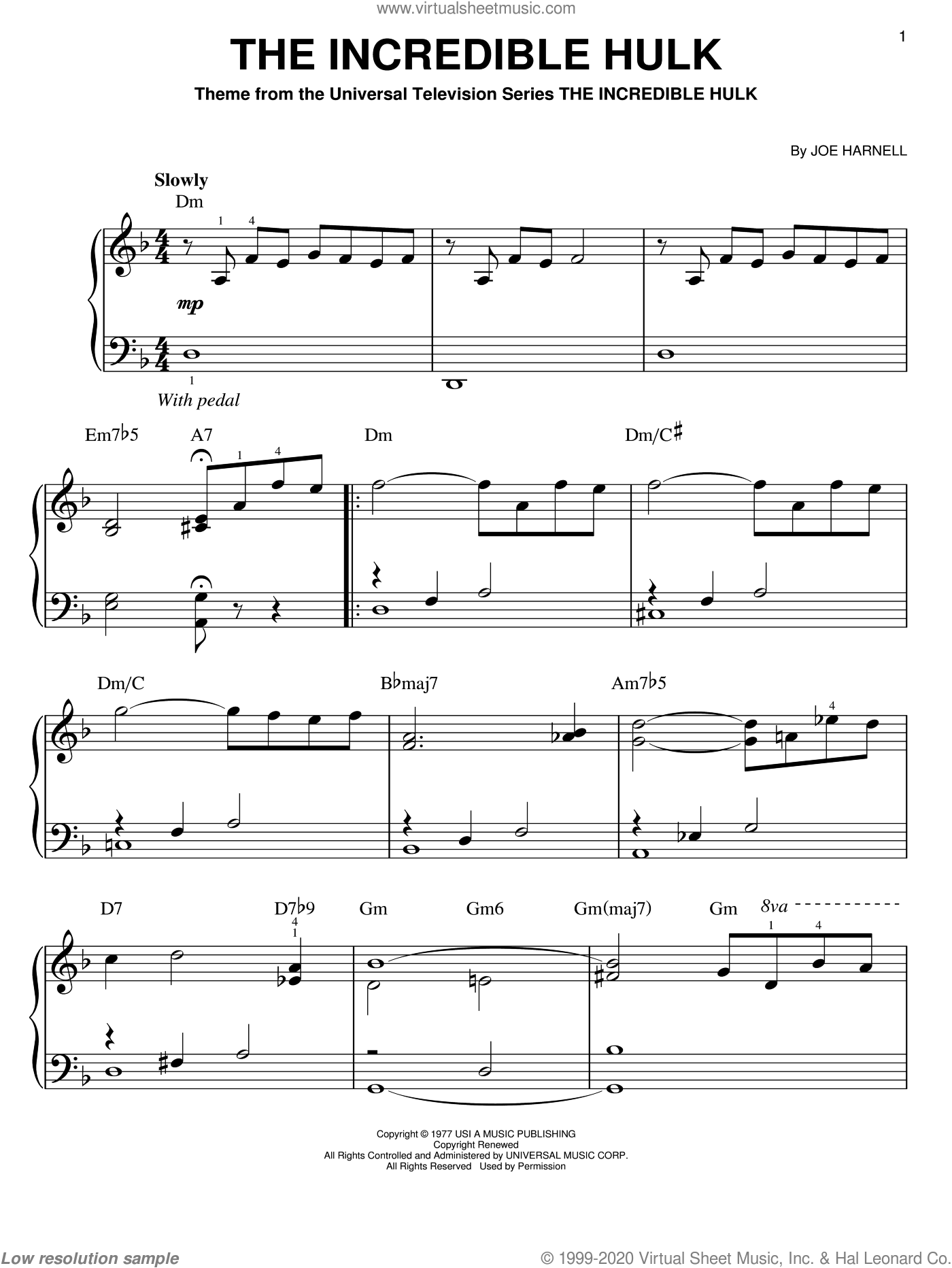 The Incredible Hulk sheet music for piano solo by Joe Harnell. Score Image Preview.