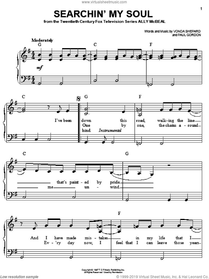 Searchin' My Soul sheet music for piano solo by Vonda Shepard and Paul Gordon, easy skill level