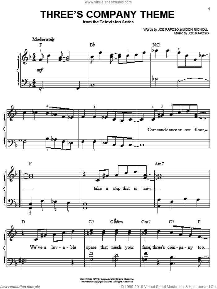Three's Company Theme sheet music for piano solo by Joe Raposo and Don Nicholl, easy skill level