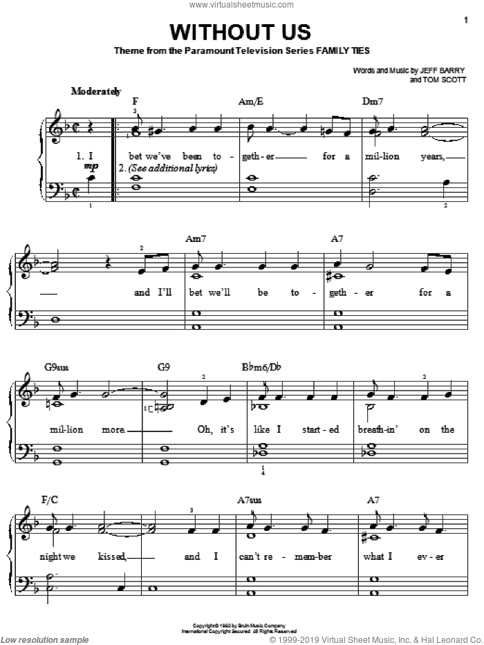 Without Us sheet music for piano solo by Jeff Barry and Tommy Scott, easy skill level