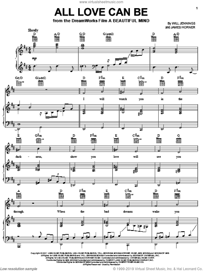All Love Can Be sheet music for voice, piano or guitar by Will Jennings