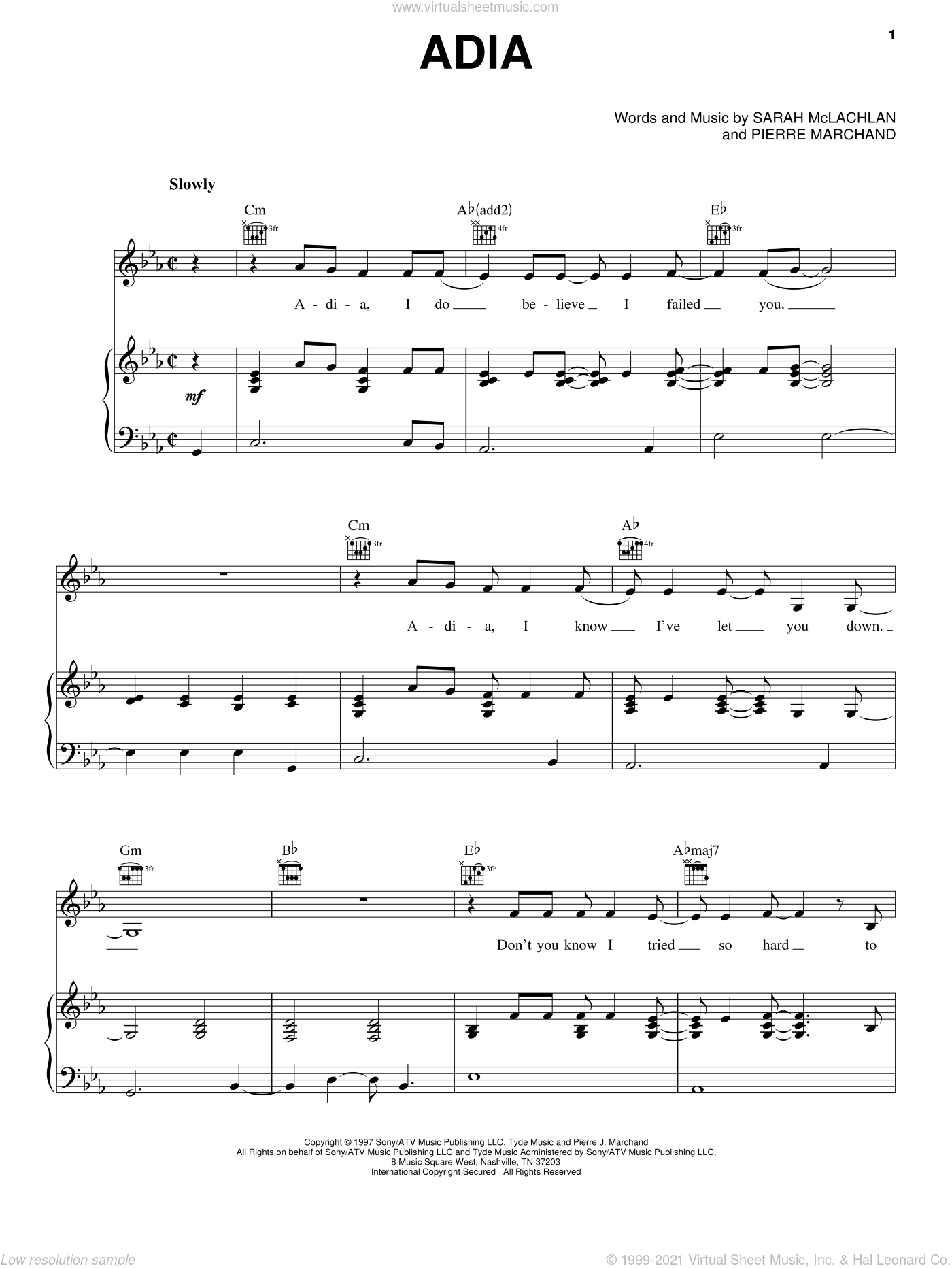 Adia sheet music for voice, piano or guitar by Pierre Marchand and Sarah McLachlan. Score Image Preview.