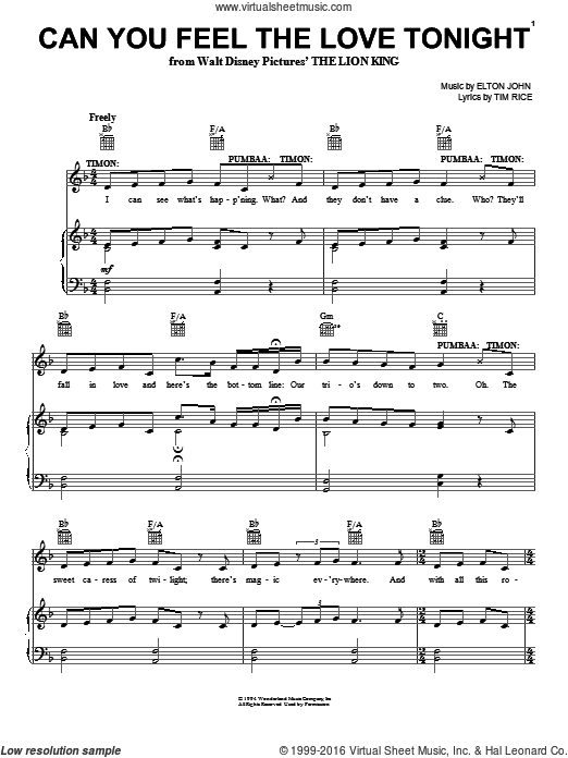 Can You Feel The Love Tonight (Movie Version) sheet music for voice, piano or guitar by Elton John and Tim Rice, intermediate voice, piano or guitar. Score Image Preview.