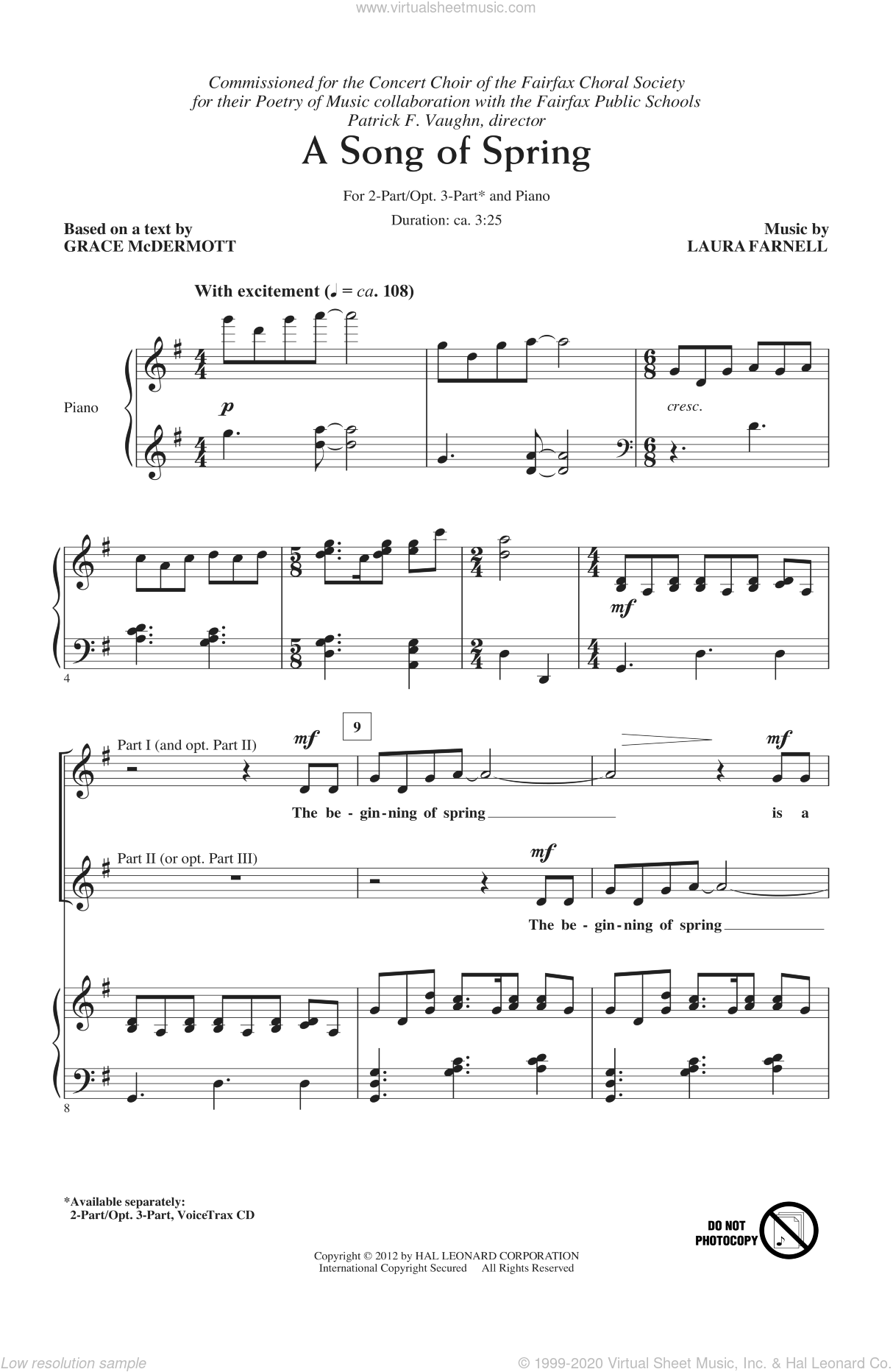 A Song Of Spring sheet music for choir (duets) by Laura Farnell. Score Image Preview.