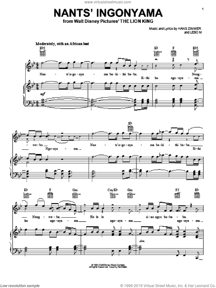 Nants' Ingonyama sheet music for voice, piano or guitar by Elton John, Tim Rice and Hans Zimmer. Score Image Preview.