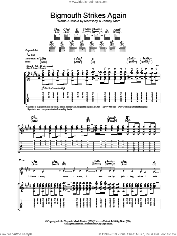 Bigmouth Strikes Again sheet music for guitar (tablature) by The Smiths, Johnny Marr and Steven Morrissey. Score Image Preview.