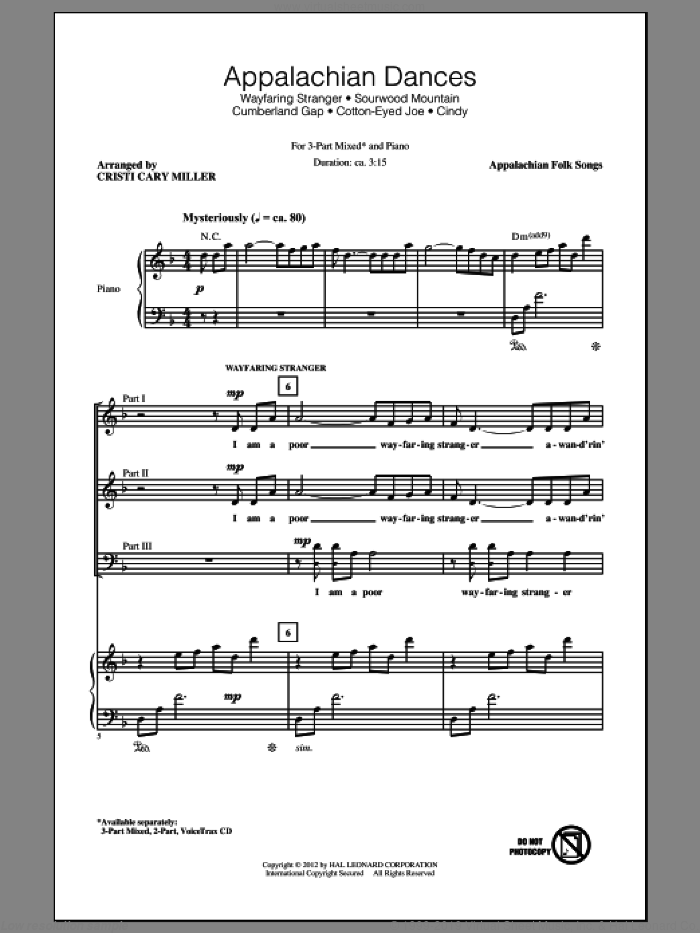 Appalachian Dances (Medley) sheet music for choir (chamber ensemble) by Cristi Cary Miller, intermediate choir (chamber ensemble). Score Image Preview.