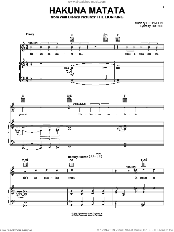 Hakuna Matata sheet music for voice, piano or guitar by Elton John and Tim Rice. Score Image Preview.