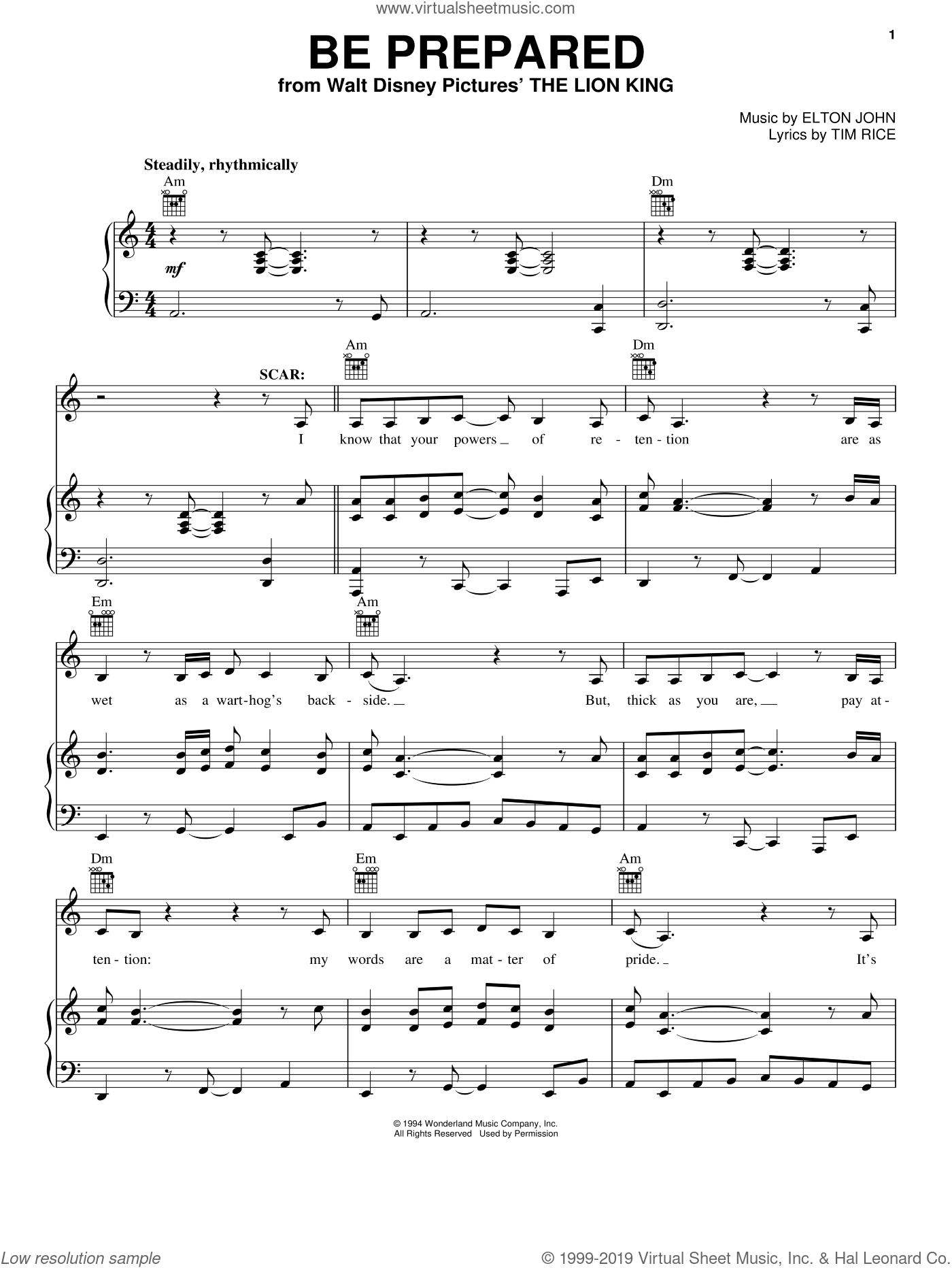 Be Prepared (from The Lion King) sheet music for voice, piano or guitar by Elton John, The Lion King (Movie) and Tim Rice, intermediate skill level