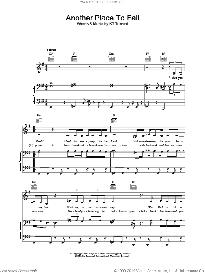 Another Place To Fall sheet music for voice, piano or guitar by KT Tunstall, intermediate voice, piano or guitar. Score Image Preview.