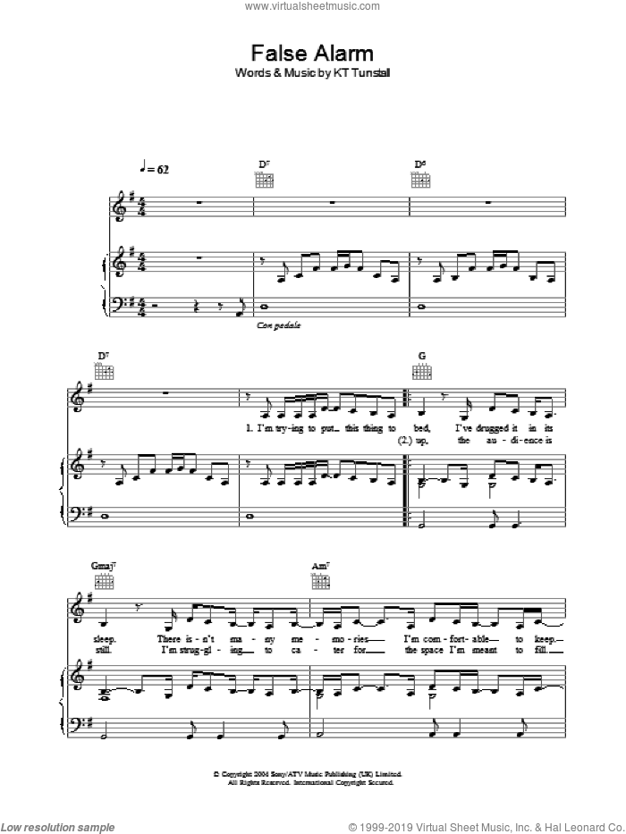 False Alarm sheet music for voice, piano or guitar by KT Tunstall, intermediate skill level