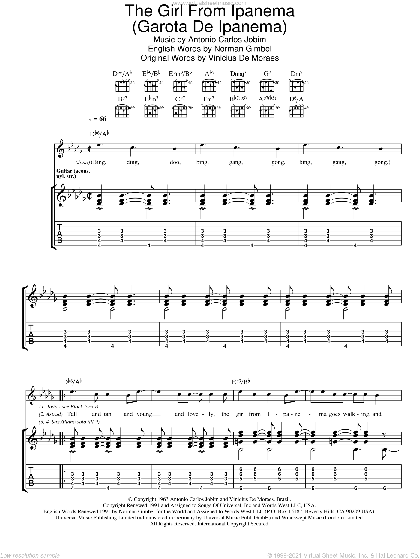 The Girl From Ipanema (Garota De Ipanema) sheet music for guitar (tablature) by Vinicius de Moraes