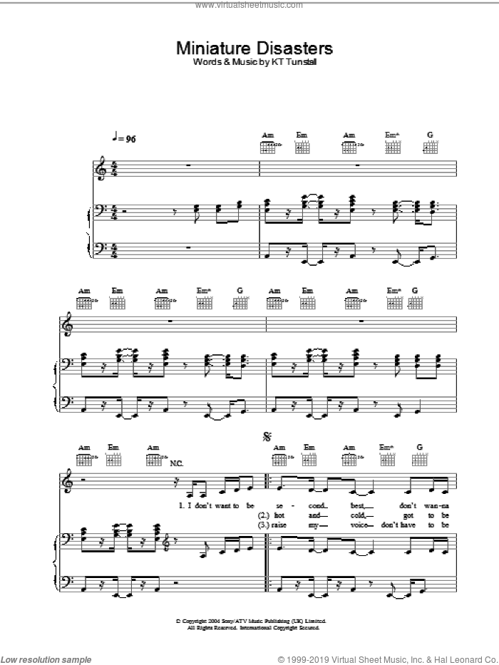 Miniature Disasters sheet music for voice, piano or guitar by KT Tunstall, intermediate. Score Image Preview.