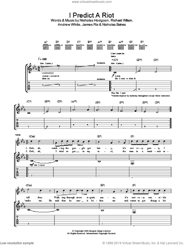 I Predict A Riot sheet music for guitar (tablature) by Kaiser Chiefs, intermediate. Score Image Preview.